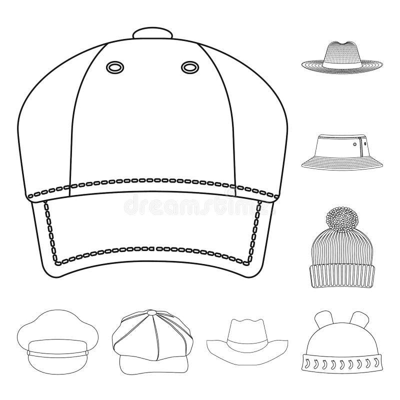 Wektorowa ilustracja kłobuku i nakrętki ikona Set kłobuku i akcesorium akcyjna wektorowa ilustracja ilustracja wektor