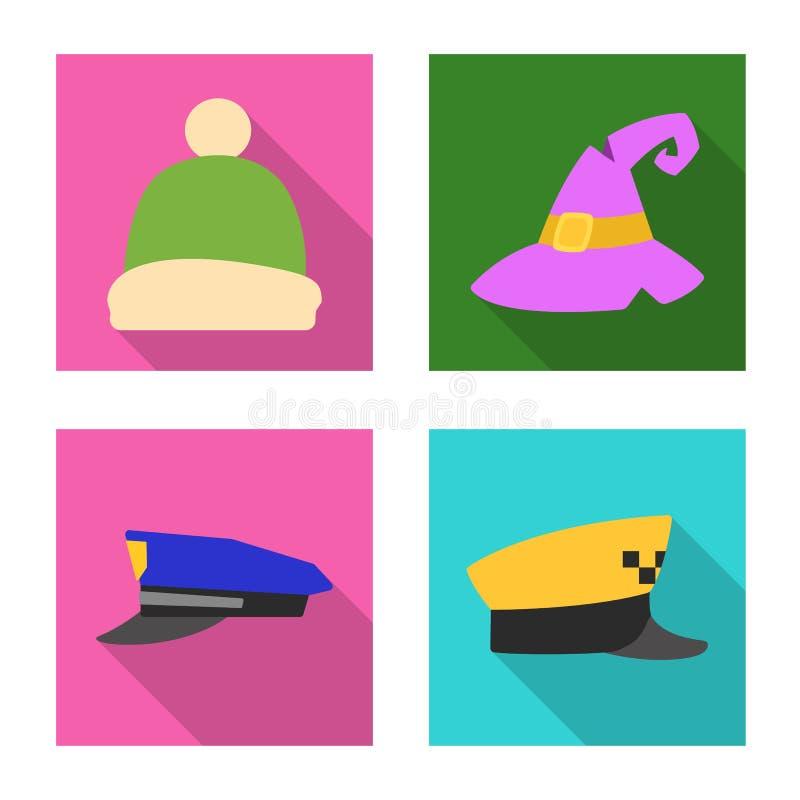 Wektorowa ilustracja kłobuku i nakrętki logo Kolekcja kłobuku i akcesorium akcyjna wektorowa ilustracja ilustracji