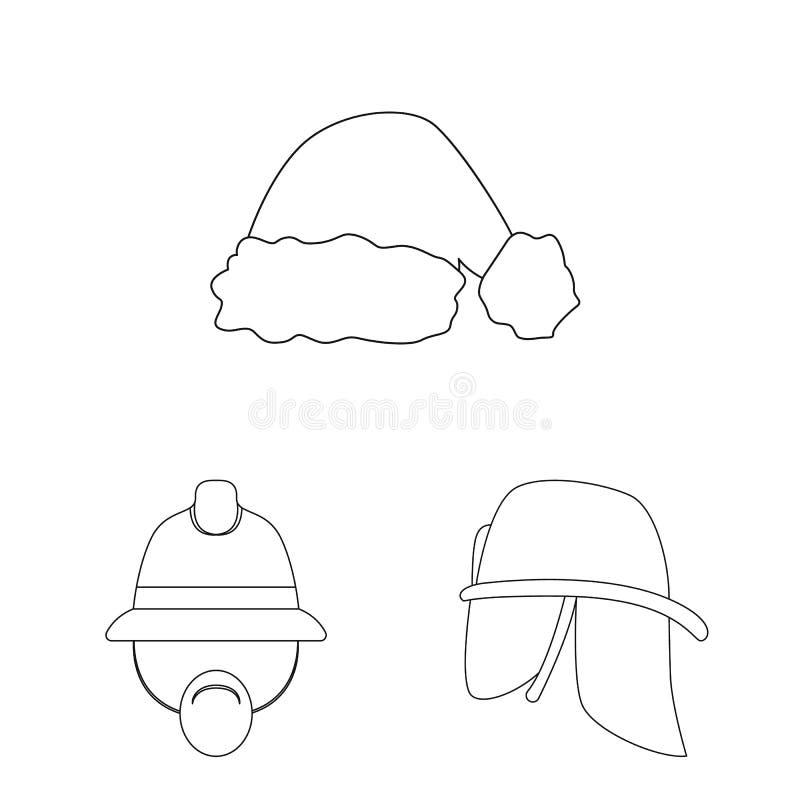 Wektorowa ilustracja kłobuku i nakrętki logo Kolekcja kłobuku i akcesorium akcyjna wektorowa ilustracja ilustracja wektor