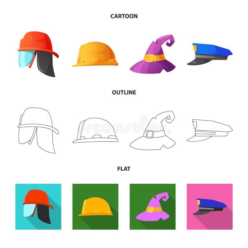 Wektorowa ilustracja kłobuku i nakrętki logo Kolekcja kłobuku i akcesorium akcyjna wektorowa ilustracja royalty ilustracja