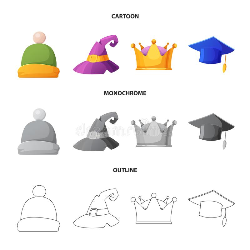 Wektorowa ilustracja kłobuku i nakrętki symbol Kolekcja kłobuku i akcesorium akcyjna wektorowa ilustracja ilustracja wektor