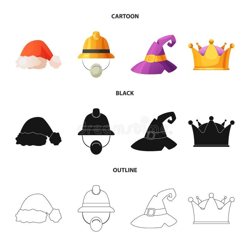 Wektorowa ilustracja kłobuku i nakrętki symbol Kolekcja kłobuku i akcesorium akcyjna wektorowa ilustracja ilustracji