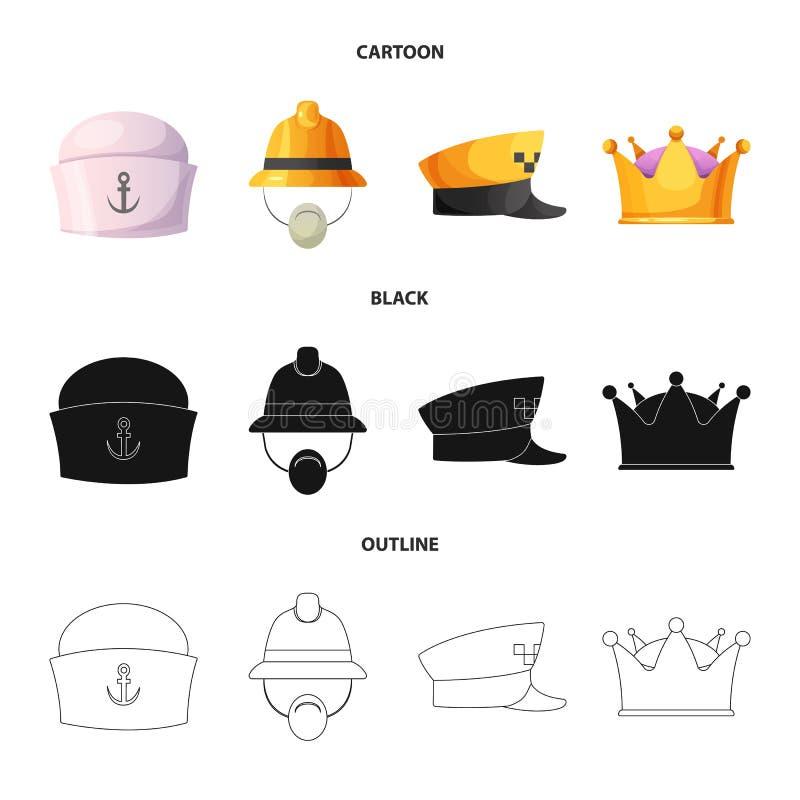 Wektorowa ilustracja kłobuku i nakrętki symbol Set kłobuku i akcesorium akcyjna wektorowa ilustracja royalty ilustracja