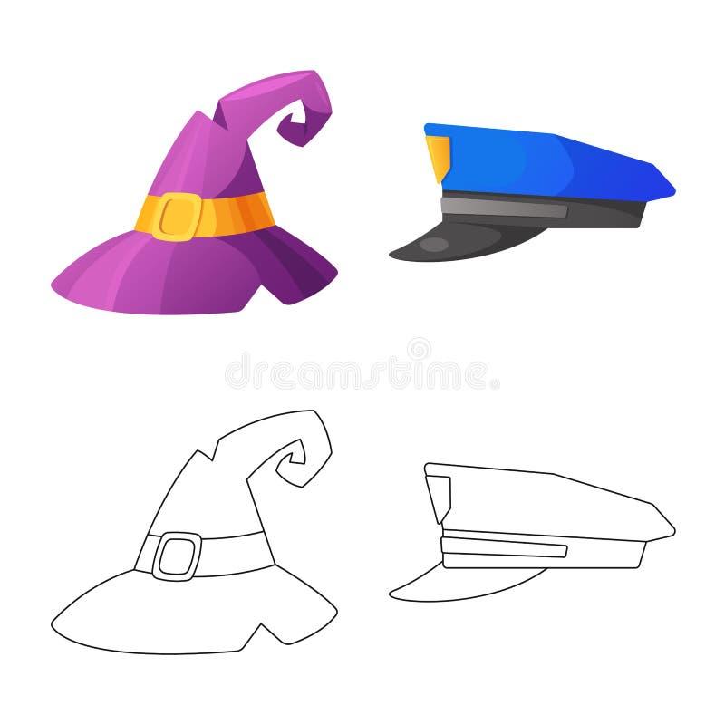 Wektorowa ilustracja kłobuku i nakrętki znak Kolekcja kłobuku i akcesorium akcyjna wektorowa ilustracja ilustracja wektor