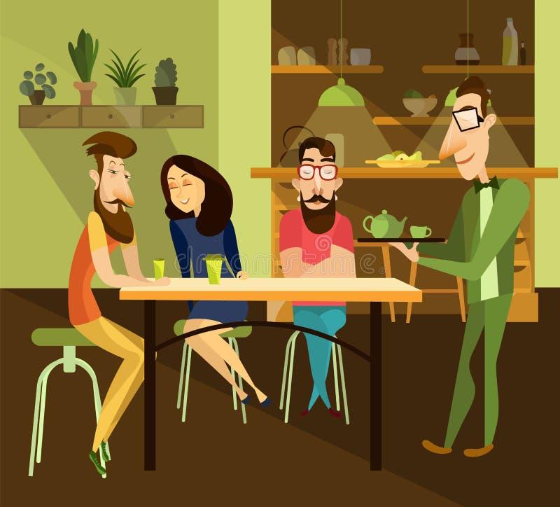 Wektorowa ilustracja kelner porci herbata restauracyjni goście ilustracji