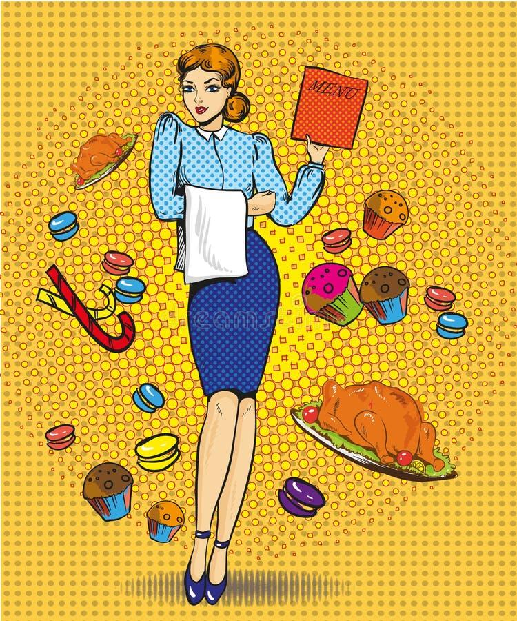 Wektorowa ilustracja kelnerki kobieta, retro wystrzał sztuki komiczki styl ilustracja wektor