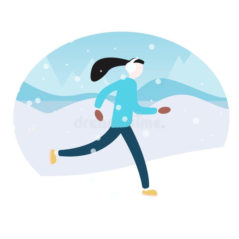 Wektorowa ilustracja kobieta bieg w zima ranku Płaski wektoru krajobraz Kobiety zimy działający maraton royalty ilustracja