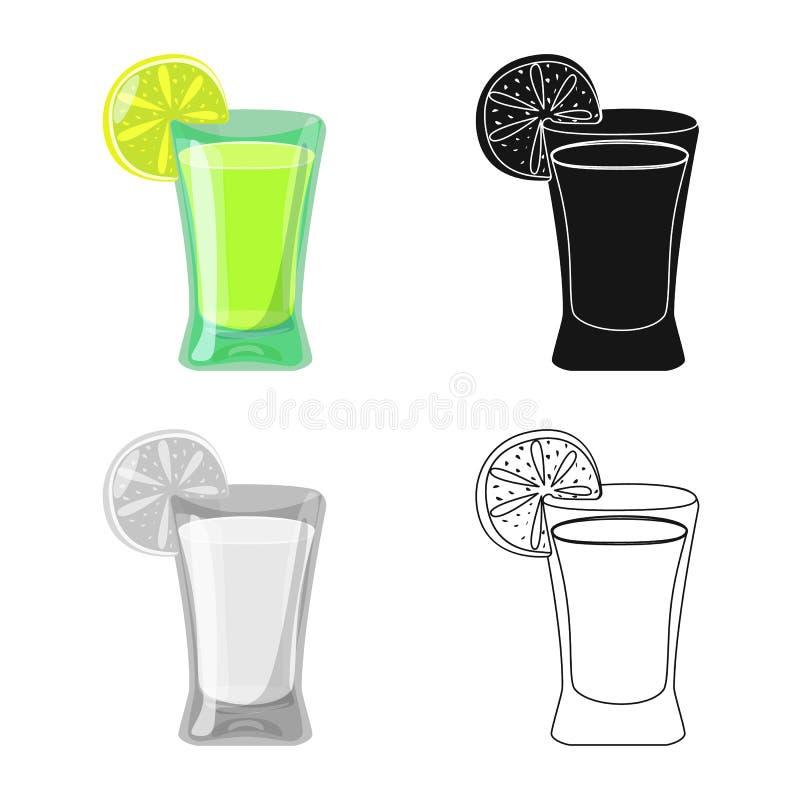 Wektorowa ilustracja koktajlu i szk?a symbol Kolekcja koktajlu i cytryny wektorowa ikona dla zapasu ilustracji