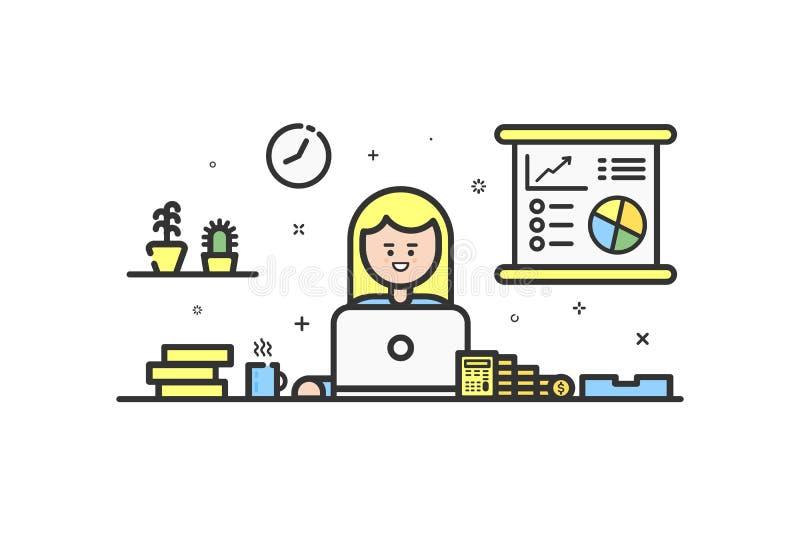 Wektorowa ilustracja kolor ikona w płaskim kreskowym stylu Graficznego projekta pojęcie kobieta pieniężny księgowy royalty ilustracja
