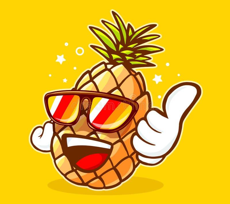 Wektorowa ilustracja kolorowi modnisia ananasa okulary przeciwsłoneczni zdjęcie royalty free