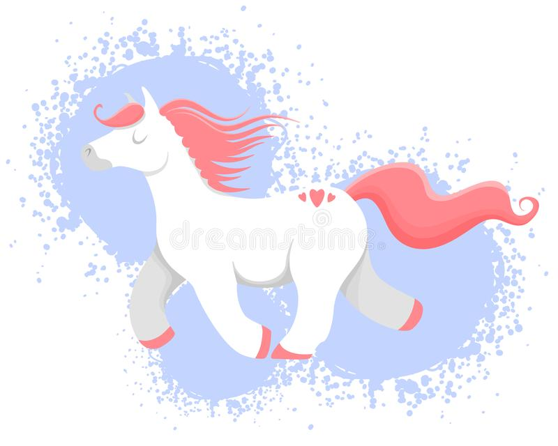 Wektorowa ilustracja kolorowy koń, jednorożec lub konik, ilustracja wektor