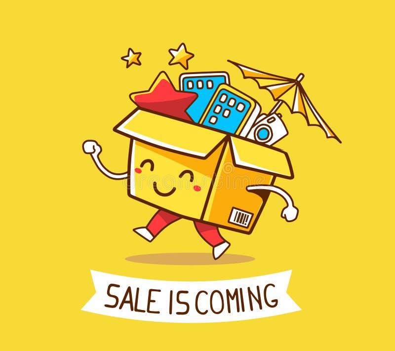 Wektorowa ilustracja kolorowy uśmiechu charakteru zakupy pudełka dowcip ilustracji