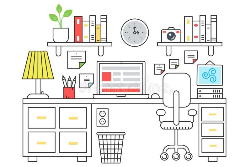 Wektorowa ilustracja komputer umieszczający na biurowym biurku Płaski koloru kreskowy styl royalty ilustracja