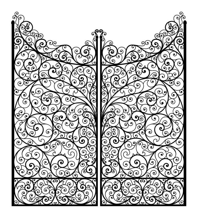 Wektorowa ilustracja kontur wyszczególniająca dokonanego żelaza brama, odosobniona ilustracji