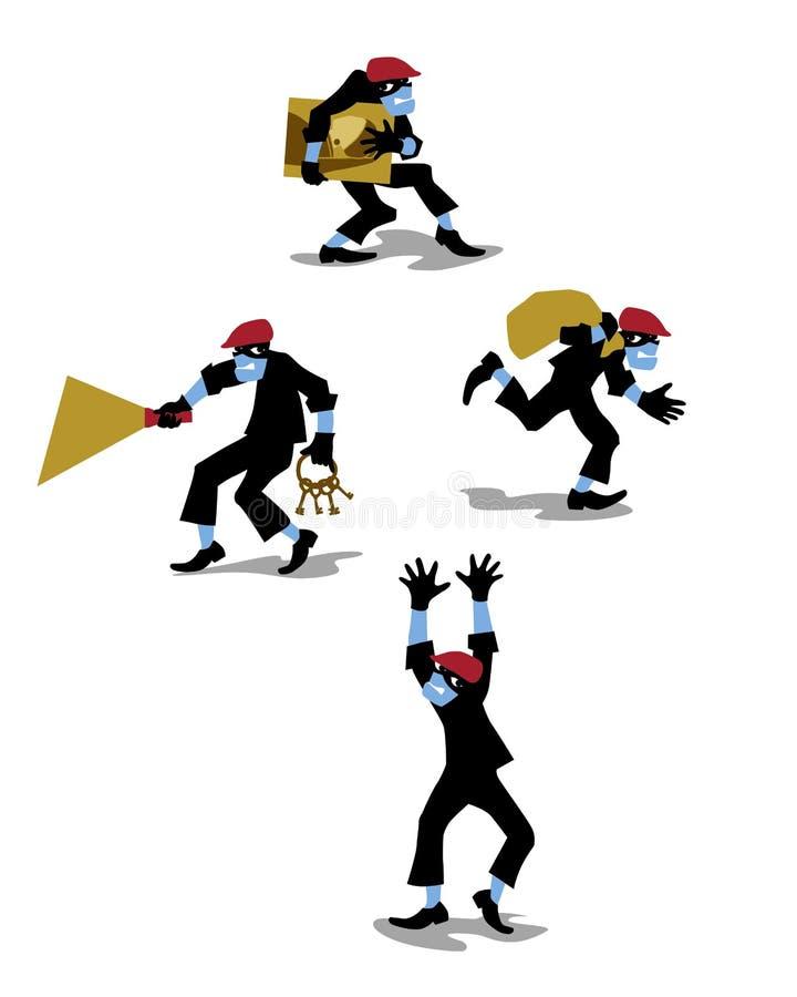 Wektorowa ilustracja kraść złodzieja w mieszkanie stylu ilustracji