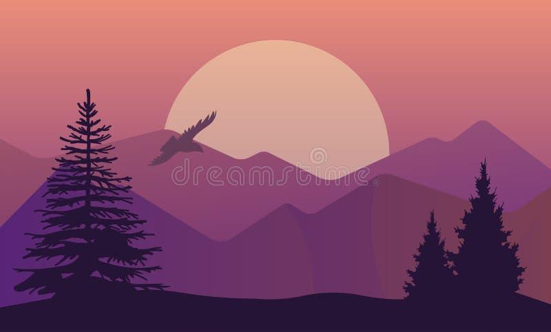Wektorowa ilustracja krajobraz w północnych terenach, evening półmrok z sosnowym lasem na skałach Sceniczny widok łąka z royalty ilustracja