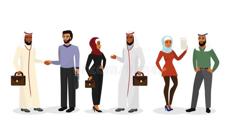 Wektorowa ilustracja kreskówka Arabscy mężczyzna, kobiety w różny odzieżowym, charaktery i muzułmańscy biznesmeni, i ilustracji
