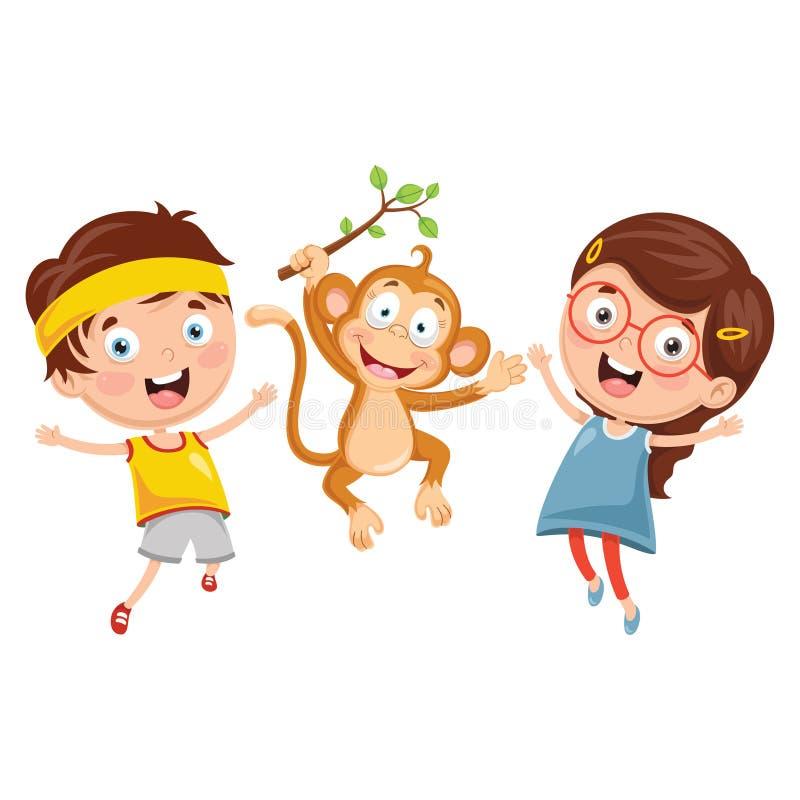 Wektorowa ilustracja kreskówka dzieciaki Z małpą ilustracji