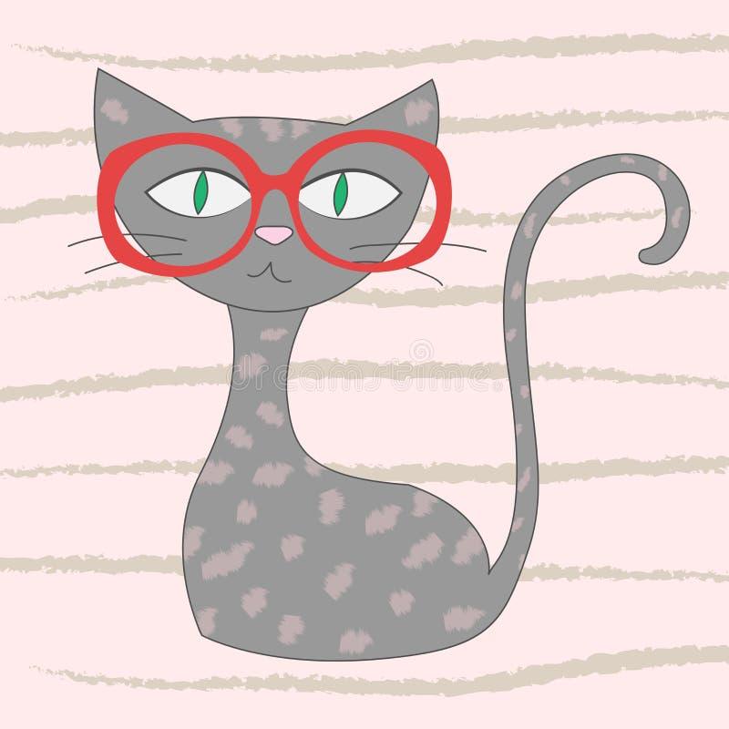 Wektorowa ilustracja kreskówka kot Projekt kartka z pozdrowieniami Koszulek grafika dla dzieciaków Kreskówka druk ilustracji
