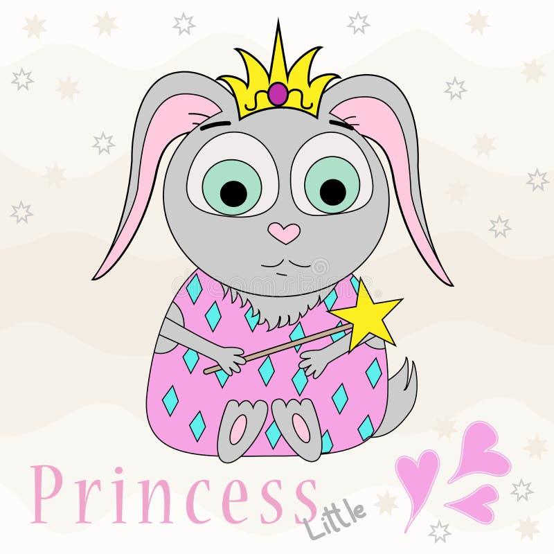 Wektorowa ilustracja kreskówka królik w koronie Kartka z pozdrowieniami dla dziewczyny Śliczny druk ilustracji