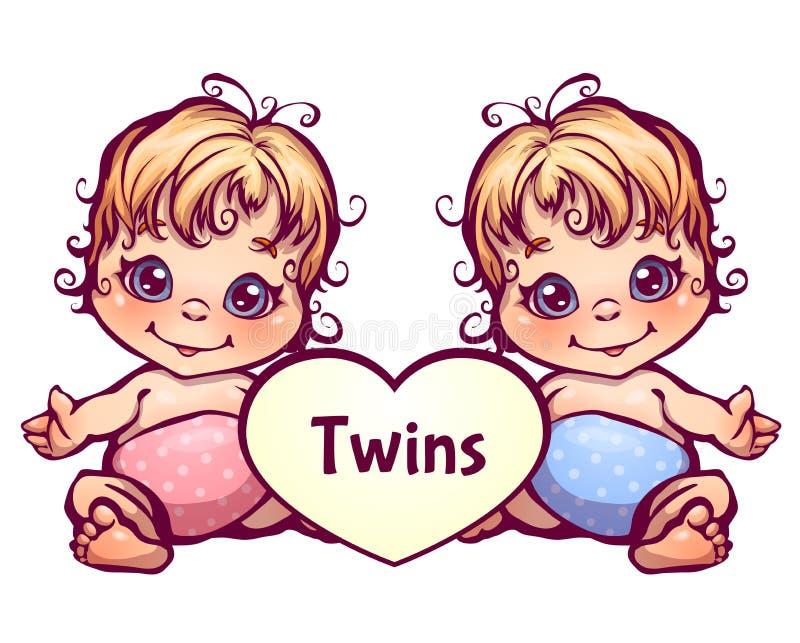 Wektorowa ilustracja kreskówki dziecka mali bliźniacy ilustracji