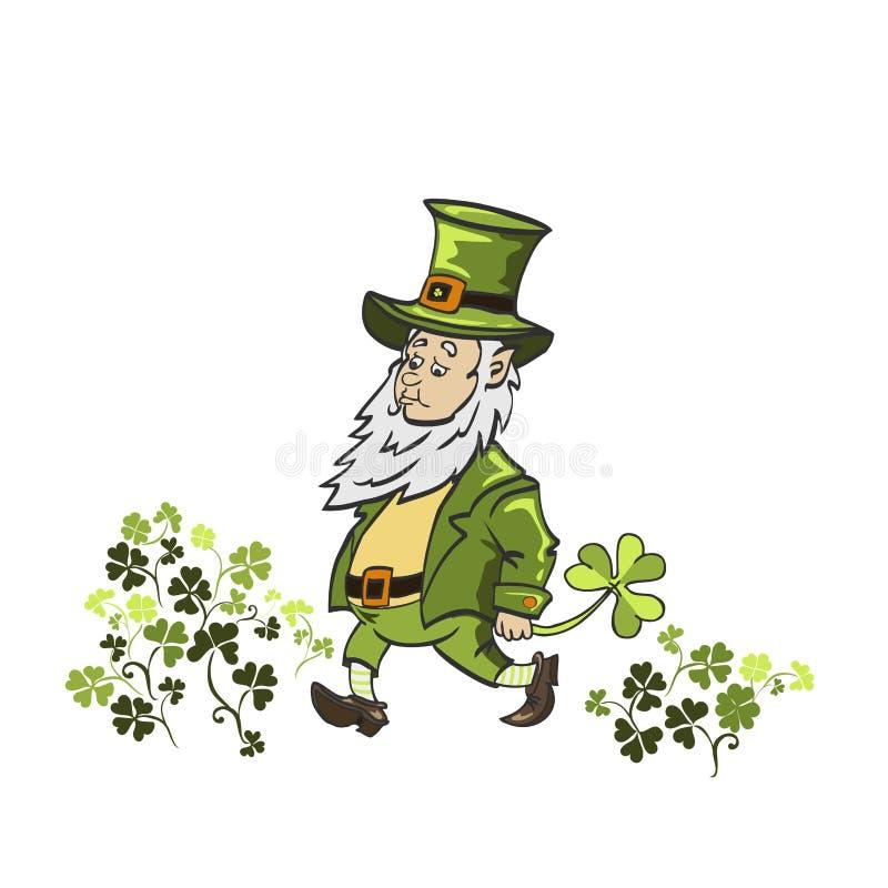 Wektorowa ilustracja kreskówki Leprechaun Jest ubranym Zielonego kostium ilustracji