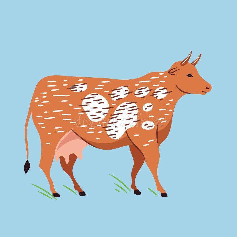 Wektorowa ilustracja krowa kresk?wki scena rolna ?mieszna ilustracyjna royalty ilustracja