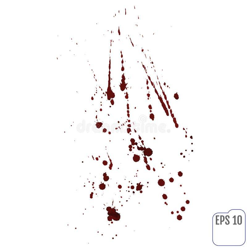 Wektorowa ilustracja krwionośny splatter, odosobniona na białym backgro royalty ilustracja