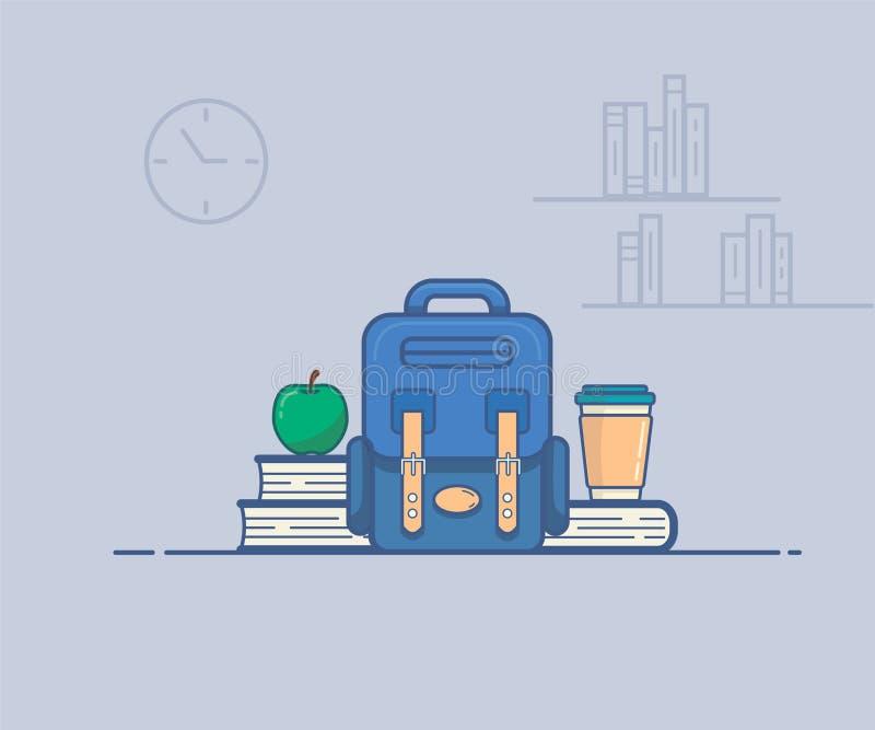 Wektorowa ilustracja która przedstawia szkolną przekąskę ilustracja wektor