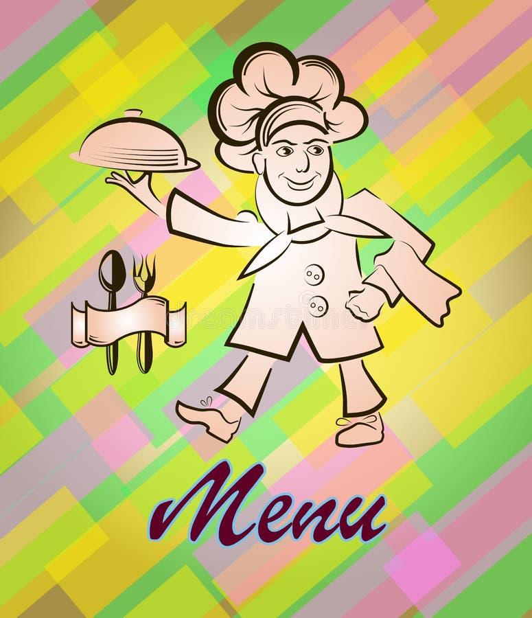 Wektorowa ilustracja kucbarski menu bar lub restauracja Kucharz niesie gorącego posiłek, logo ilustracji