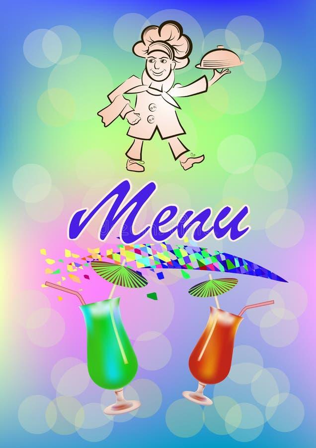 Wektorowa ilustracja kucbarski menu bar lub restauracja Kucharz niesie gorącego posiłek, logo ilustracja wektor