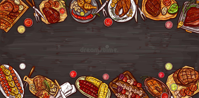 Wektorowa ilustracja, kulinarny sztandar, grilla tło z piec na grillu mięsem, kiełbasy, warzywa i kumberlandy, ilustracja wektor