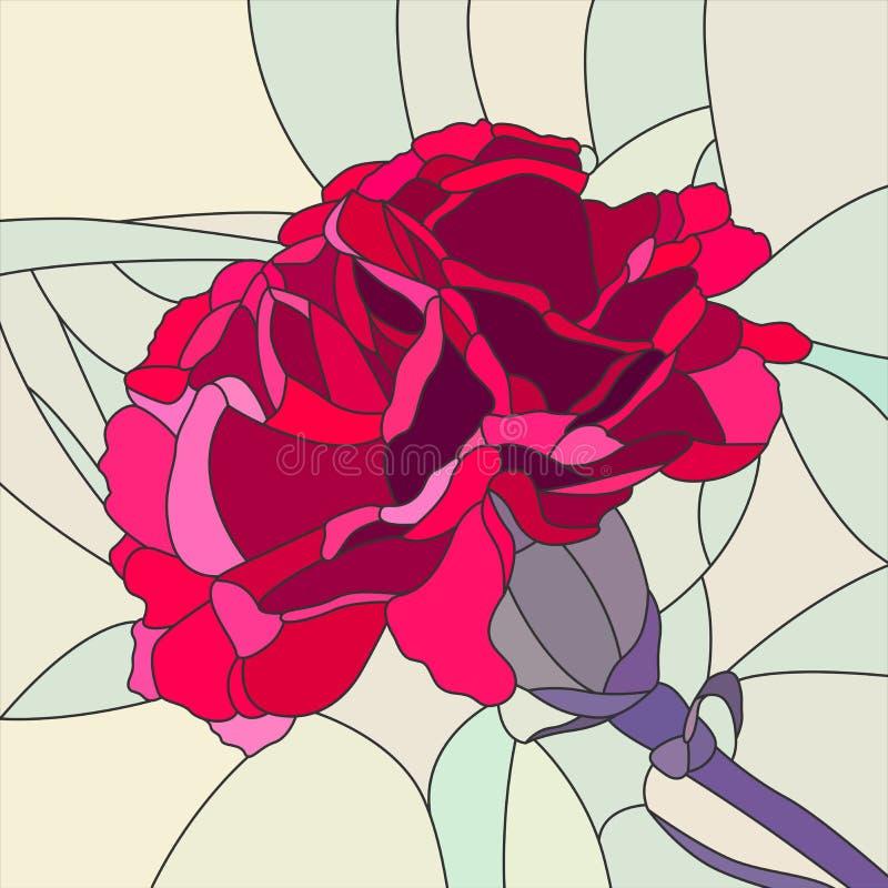Wektorowa ilustracja kwiatu czerwieni goździk. ilustracja wektor
