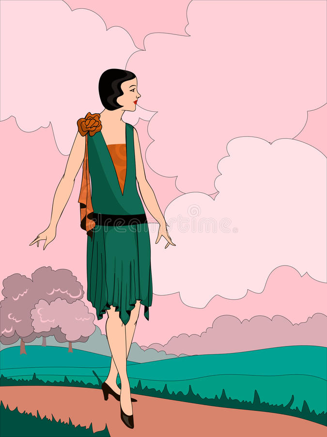 Wektorowa ilustracja lata dwudzieste stylów dziewczyna ilustracji