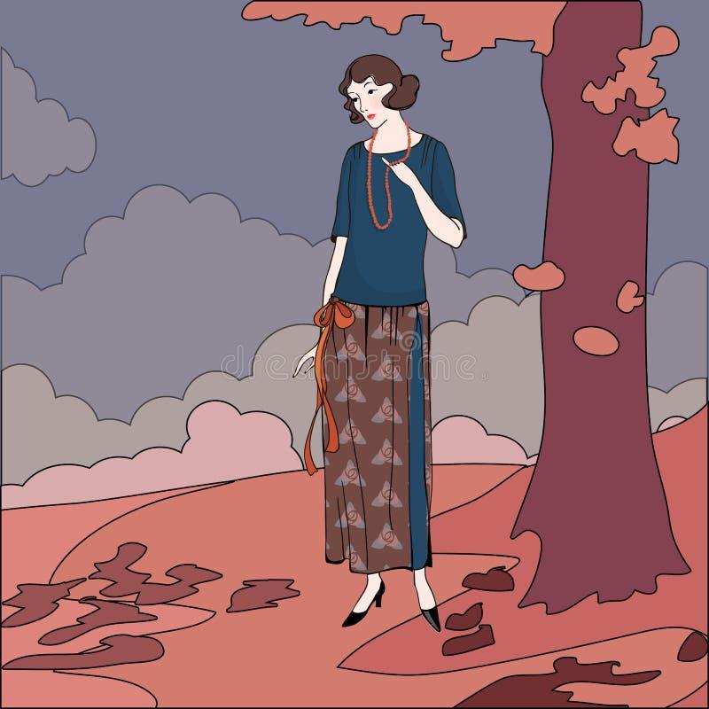 Wektorowa ilustracja lata dwudzieste stylów dziewczyna ilustracja wektor