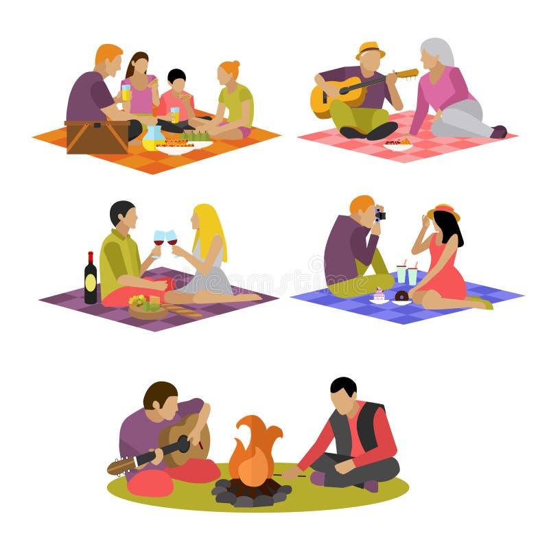 Wektorowa ilustracja lata odtwarzanie Rodzinny pinkin i camping w parka mieszkania ikonach ilustracja wektor