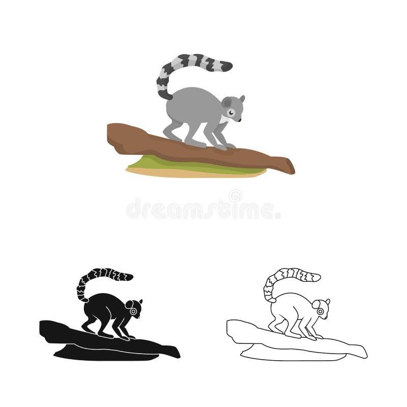 Wektorowa ilustracja lemura i małpy ikona Set lemur i drzewny akcyjny symbol dla sieci royalty ilustracja