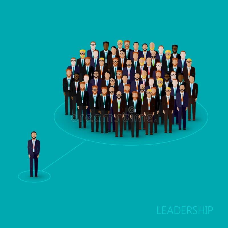 Wektorowa ilustracja lider i drużyna tłum biznesowi mężczyzna lub politycy jest ubranym kostiumy i krawaty Przywódctwo pojęcie ilustracja wektor