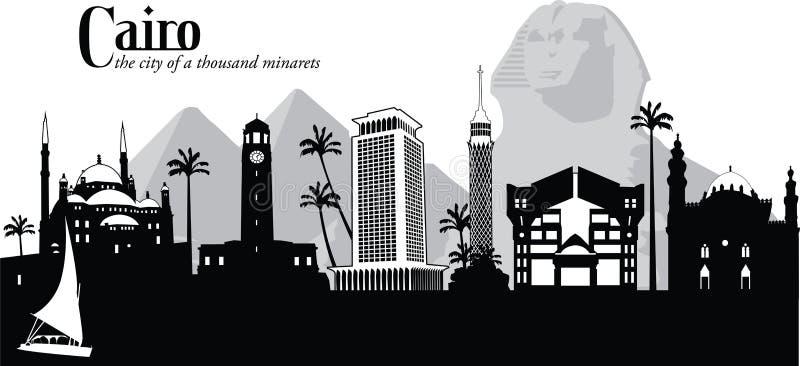 Wektorowa ilustracja linia horyzontu Kair, Egipt
