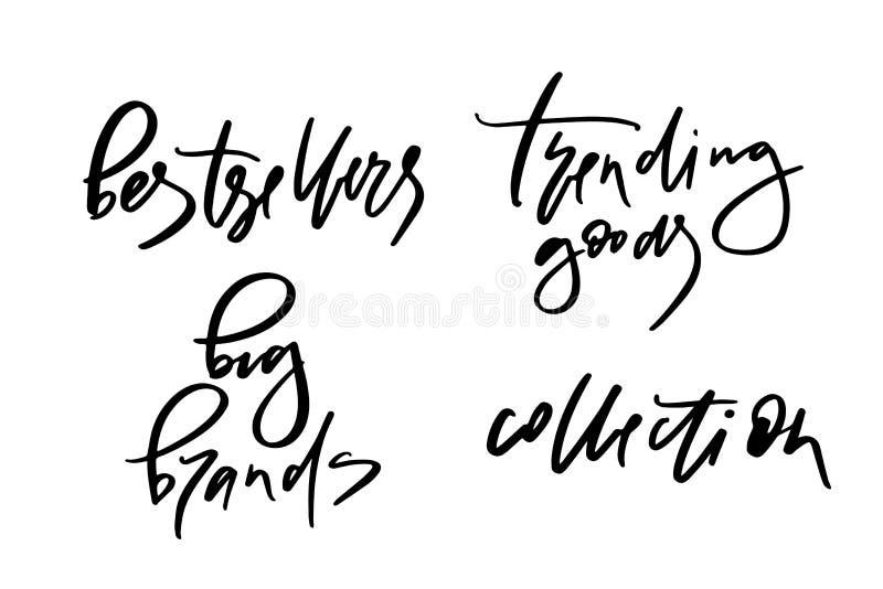 Wektorowa ilustracja literowanie lub kaligrafia słowo bestsellerów duzi gatunki wykazywać tendencję towarową kolekcję Sztandar dl royalty ilustracja