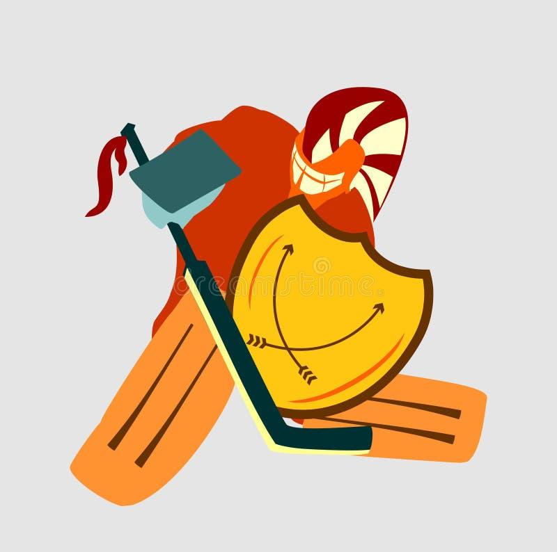 Wektorowa ilustracja lodowego hokeja bramkarz z rycerz osłoną ilustracja wektor