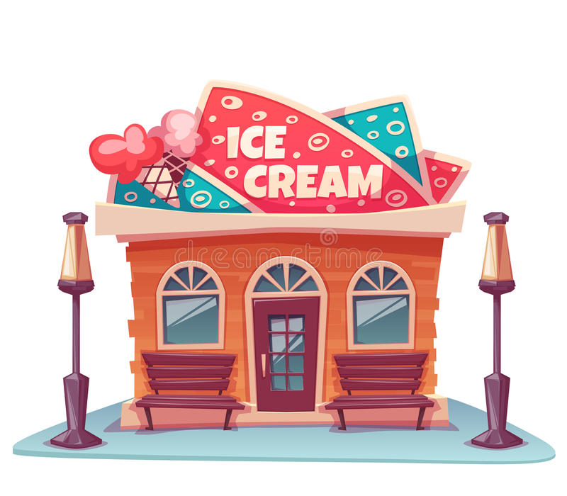 Wektorowa ilustracja lody sklepowy budynek royalty ilustracja