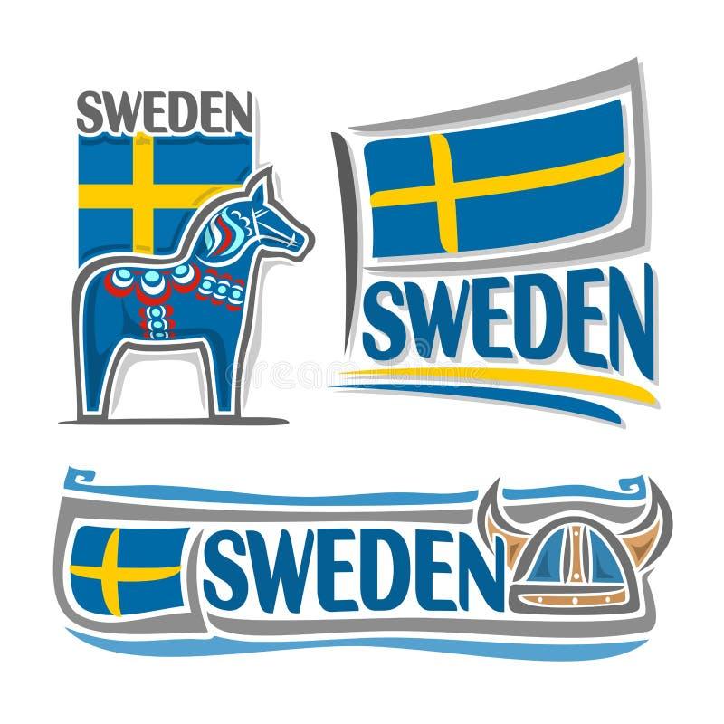 Wektorowa ilustracja logo dla Szwecja royalty ilustracja