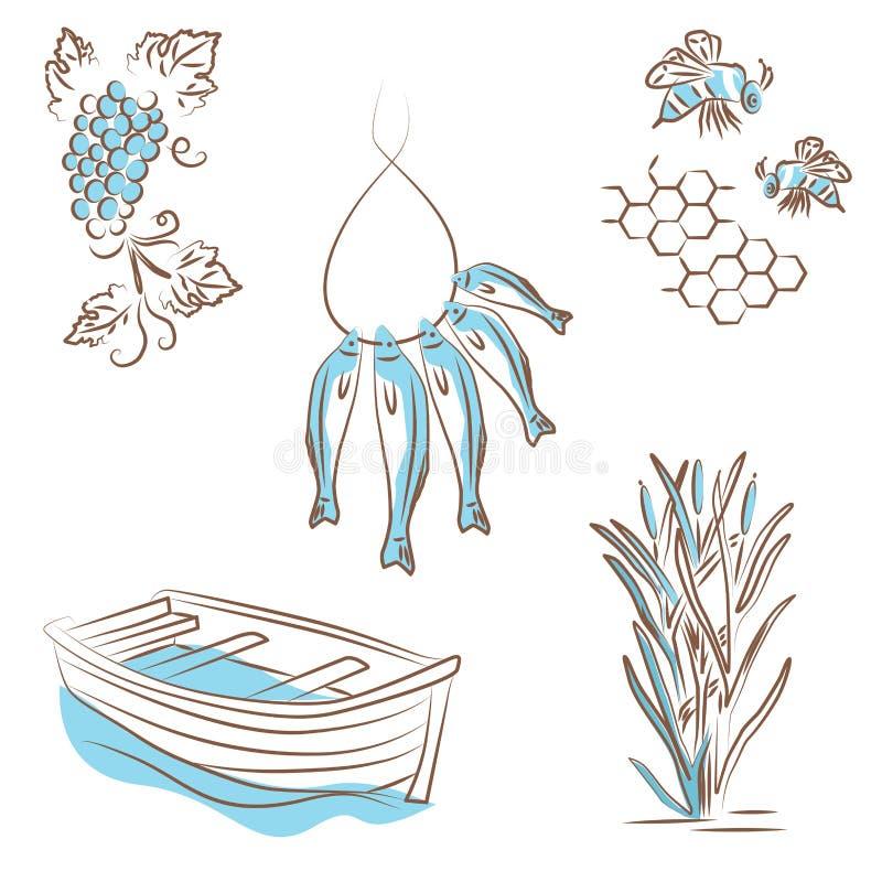 Wektorowa ilustracja, logo o lato typach odtwarzanie na rzece ilustracja wektor