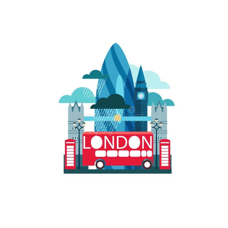 Wektorowa ilustracja Londyński Wielki Brytania z sławnymi widokami a royalty ilustracja