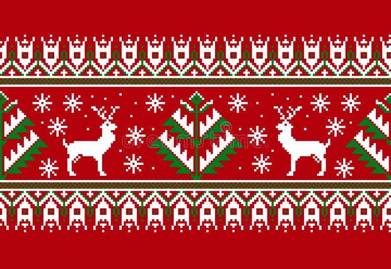 Wektorowa ilustracja Ludowy bezszwowy deseniowy ornament Etnicznego nowego roku czerwony ornament z sosnami i deers chłodno royalty ilustracja