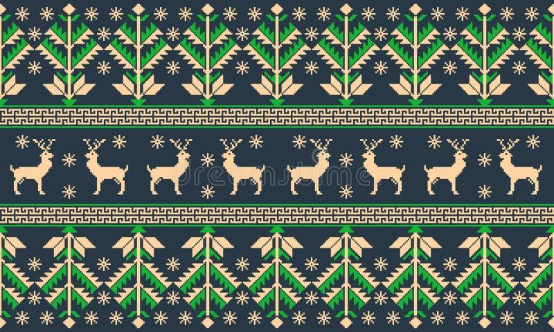 Wektorowa ilustracja Ludowy bezszwowy deseniowy ornament Etniczny nowy rok zieleni ornament z sosnami i deers chłodno royalty ilustracja