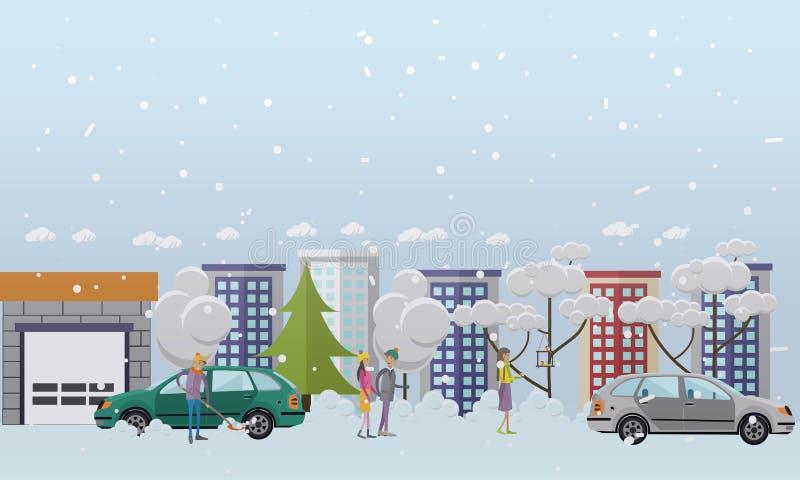 Wektorowa ilustracja ludzie zim aktywność projektuje elementy, mieszkanie styl ilustracji