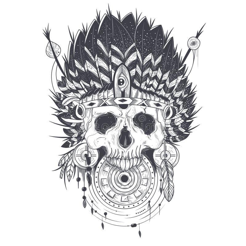 Wektorowa ilustracja ludzka czaszka w indyjskim piórkowym kapeluszu, tatuażu szablon royalty ilustracja