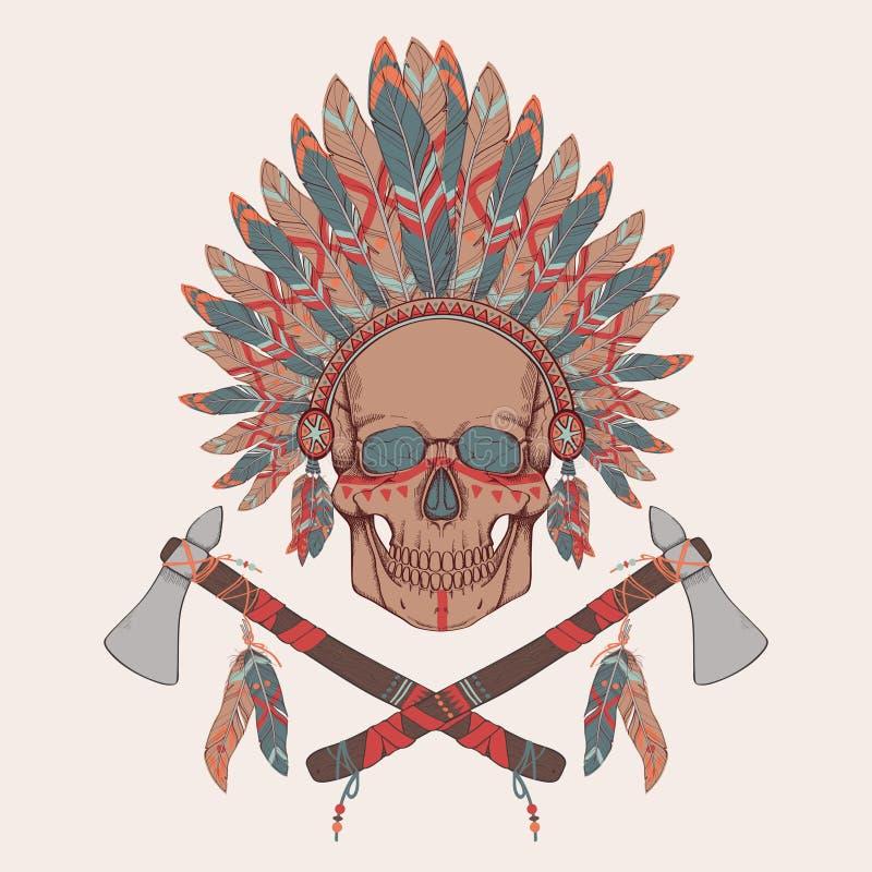 Wektorowa ilustracja ludzka czaszka w rodowitego amerykanina pióropuszu indyjskim szefie royalty ilustracja